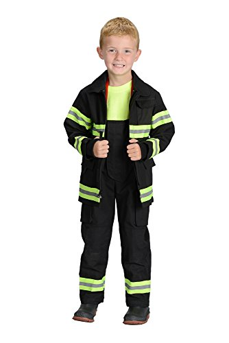 Aeromax Personalized Jr. Firefighter Suit/Bunker Gear, Black or Tan, available in multiple sizes (4/6, Black)