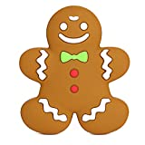 Gingerbread Holiday Teether Toy for Babies - Toddler Safe Silicone Christmas Baby Teething Toy Ring - BPA-Free, Dishwasher-Safe, Attachable & amp; Super Cute, 1pc