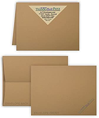 5X7 Folded Size with A-7 Envelopes -Brown Kraft Fiber - 25 Sets (7X10 Cards Scored to Fold in Half) Blank Pack -Invitations, Greeting, Thank Yous, Notes, Holidays, Weddings, Birthdays -80# Cardstock