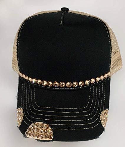 Cap Cotton Swarovski (Black Cap Women's Trucker Hat Khaki Mesh Back With Gold Swarovski Crystals by It's Crystalicious)
