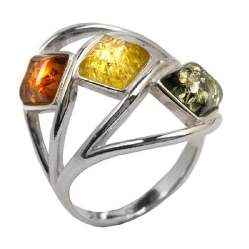 Multicolor Amber and Sterling Silver Classic Ring Sizes 5,6,7,8,9,10,11,12