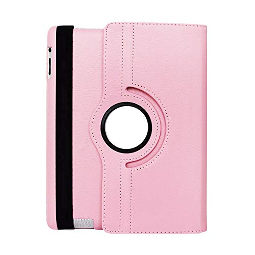 Rotating Case for Apple Ipad Air 1 2 Flip Litchi Leather Cover with Smart Stand Holder for Ipad 9.7 inch 2017/2018 for Ipad 5/6,Pink