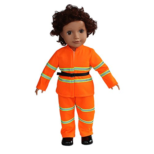 (GoldenStar Fireman Outfit Fits 18 inch American Girl Dolls Boy Doll Madame Alexander Our Generation-18 Inch Doll Clothes Jacket Pants Shoes with Belt)