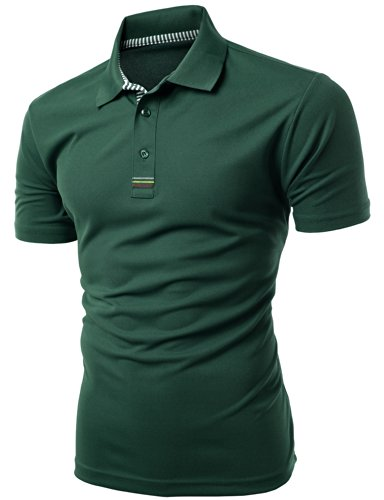 Tag Jacquard Polo (Men's Daily Casual Wear Twisting Jacquard Polo Collar T-Shirt KWTTS093M_DARKGREEN L)