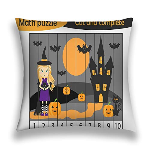 zexuandiy Pillow Case Sofa Bed Pillow Case Cover 18 X 18 Inch Twin Sides Math Puzzle Halloween Picture Witch Cartoon Style -