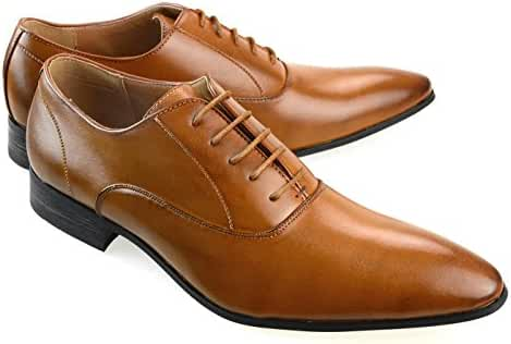 MM/ONE Mens Oxford Shoes Dress Lace Up Shoes Straight Tip Shoes Brown Darkbrown