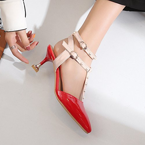 Dress GIY Pumps Shoes Women's Party with Pointed Sandals Elegant Red Toe T Heel Pearl Stilettos Strap Wedding qXTXnrAw4