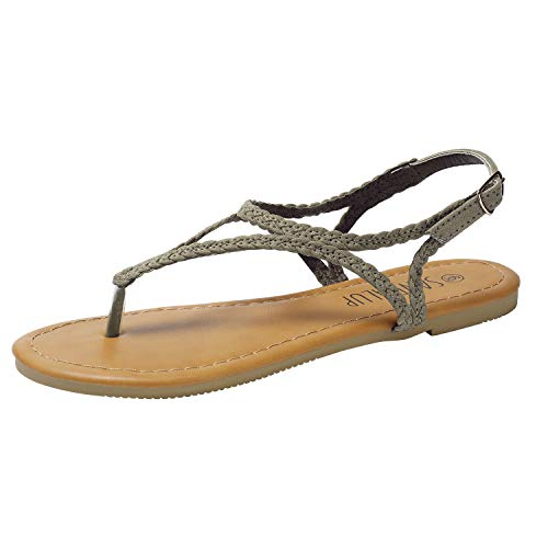 SANDALUP Braided Thong Flat Sandals w Hang Metal Buckle for Women Light Khaki 07
