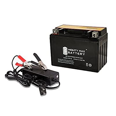 YTZ12S Replacement Battery for Motorcycle FTZ12S + 12V 2Amp Charger - Mighty Max Battery brand product