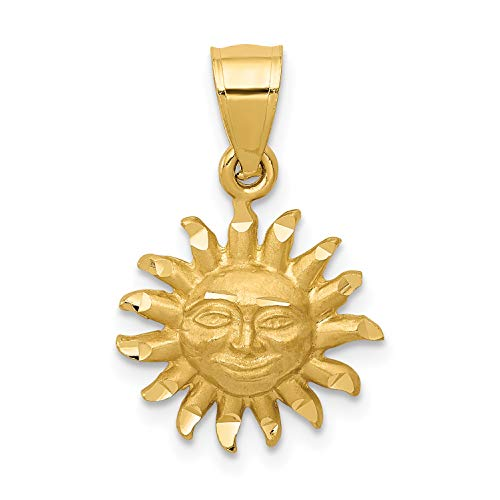Gold Smiling Sun Charm - 14k Yellow Gold Satin Sun With Smiling Face Pendant 16x13mm