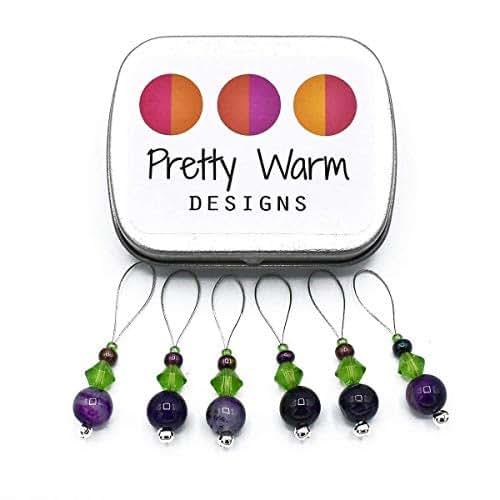 Handmade Knitting Stitch Marker Set Green Agate SNAG FREE