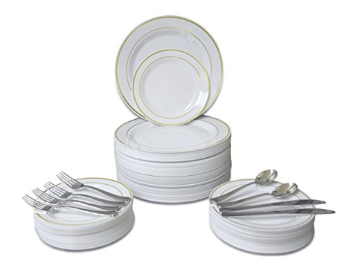 / 60 GUEST Wedding Disposable Plastic Plate and Silverware Combo Set, (White/Gold Rim plates, silver silverware) ()