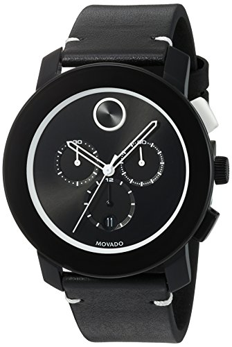 Movado Men's Swiss Stainless Steel and Leather Quartz Watch (Large Image)