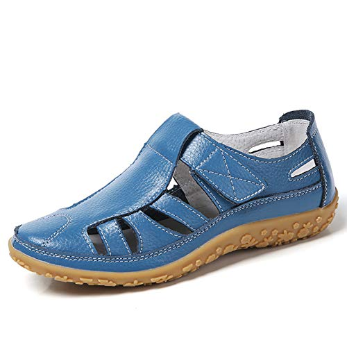 Z.SUO Women's Leather Hollow Comfortable Flat Sandals Sports Sandals Blue
