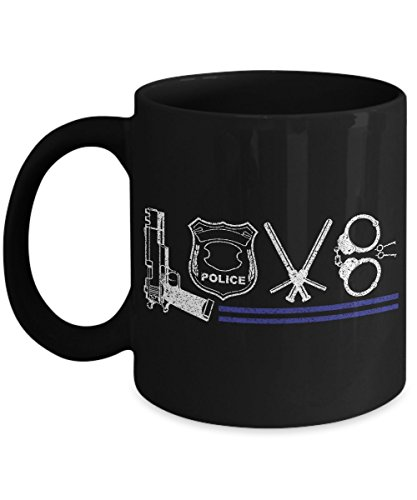 POLICE OFFICER MUG - LOVE -Gifts for wife,husband,Dad,Mom,Girlfriend,Chief,Captain, Boston, NYPD, Gotham,amity New york, k9 flag, Chicago, military Department -Black 11 Oz Ceramic Coffee mug - World Book Day Costume Ideas 2016