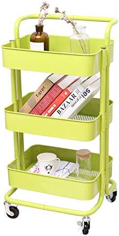 3-Tier Metal Mesh Storage Utility Cart with Brake Caster Wheels, Rolling Cart with Removable Handle, Bright Green