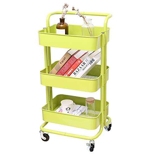 3-Tier Metal Mesh Storage Utility Cart with Brake Caster Wheels, Rolling Cart with Removable Handle, Bright Green (Wheel Epoxy)