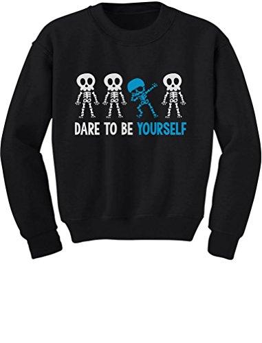 - Tstars Autism Awareness Dare to Be Yourself Dabbing Skeleton Youth Kids Sweatshirt Large Black
