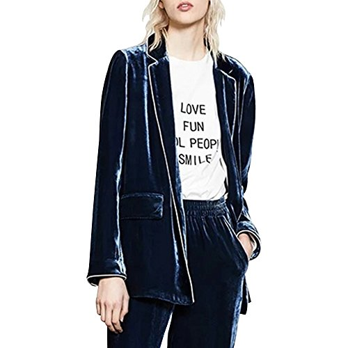 Velvet Blazer Womens (BELLA PHILOSOPHY Women's Velvet Blazer Pajamas Outwear Coat For Women Casual Ladies Jacket)