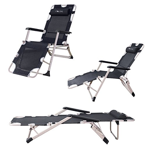 Natuzy Breathable Textilene Patio Lounge Chair – Portable Sturdy Folding Bed – Summer Cool Beach Folding Chairs Camping Cot Recliners Black