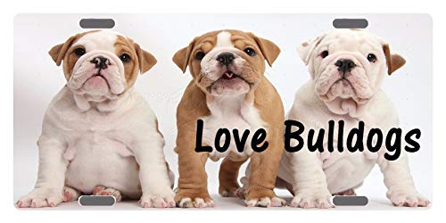 (Bull Dog Canine Breed Emblem Love Black Aluminum Metal License Plate Tag for Auto Cars, Decorative Car Tag Cover for Women/Men, 12 x 6)