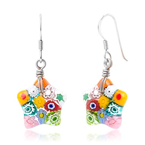 - 925 Sterling Silver Millefiori Murano Glass Multi-Colored Little Star Dangle Earrings 1.6""
