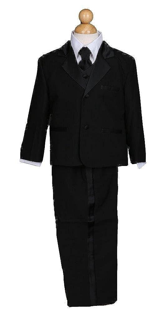 Prince Lover Boy Black 5-Piece Formal Dress Suit Tuxedo Set Tie