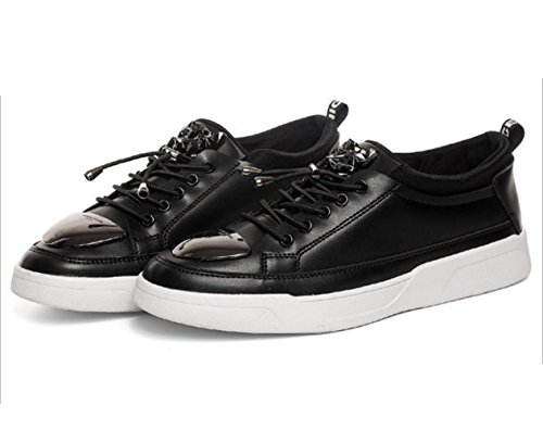 WZG Los nuevos hombres para ayudar a los zapatos bajos de chapa de hierro versión coreana de la tendencia de la marea personalidad de la moda de los zapatos deportivos zapatos de los hombres Black