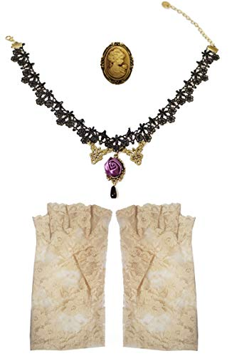 Victorian Purple Rose Black Choker Necklace Black Lace Fingerless Gloves + Cameo Brooch Party Fancy Dress