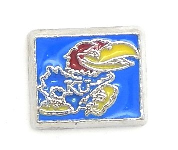 Cherityne Kansas Jayhawks Athlete Team Logo Floating Charm for Locket Pendants
