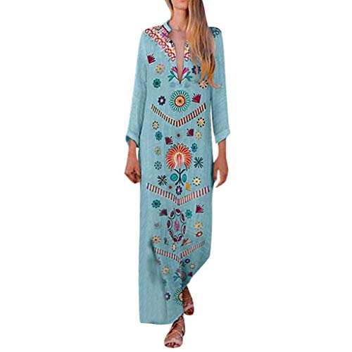 Sunhusing Womens Summer Beach Wind Sexy Deep V-Neck Long-Sleeve Cotton Linen Bohemian Print Long Maxi Dress Light Blue ()