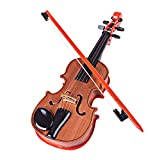 Yamix Wooden Toy Violin for Kids Mini Music Violin Wonderful Musical Instrument Toy for Kids with Bow - Dark Brown