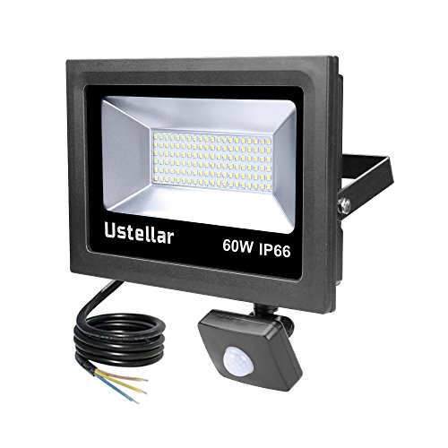 Ustellar 60W Motion Sensor LED Security Light, 4800lm, Outdoor Super Bright FloodLights, IP66 Waterproof PIR Floodlight Landscape Wall Lights, 5000K Daylight White