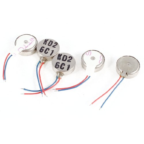 uxcell 3V DC 1034 10mm x 3.6mm Coin Mobile Phone Vibration Motor 5 Pcs