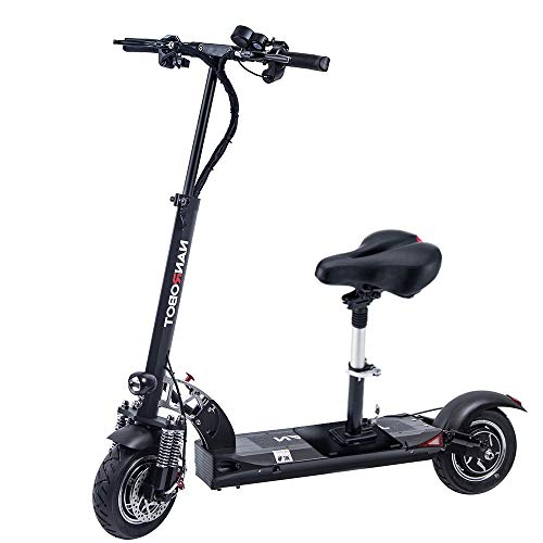 NANROBOT D5+ 2.0 Foldable Lightweight 2000W Electric Scooter with Top Speed of 40 MPH andTraveling up to 50 Miles Range - Black+Red (52V26AH)