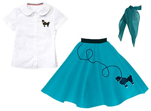 Hip Hop 50s shop 3 Piece Child Poodle Skirt Outfit, Size 6 Teal 50's Poodle Outfit Skirt