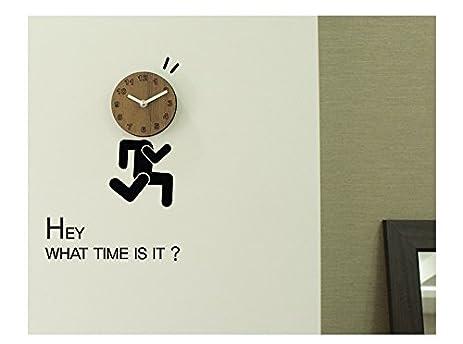 amazon com design wall art clock unminuto hey hey brown 95 95mm