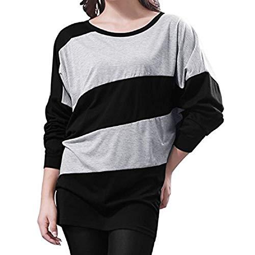À Taille T couleur Fuweiencore Pull shirt Femmes Capuche Pour L Noir Rayures Manches Avec Un Longues qadExd6w7