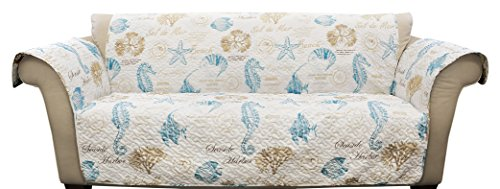 Lush Decor Harbor Life Blue Taupe Furniture Protector, Sofa, Blue & Taupe