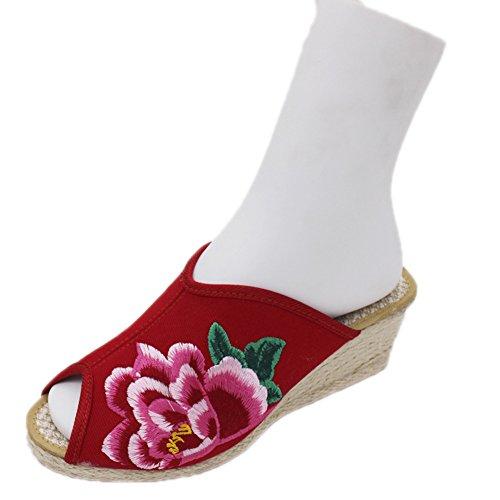 Avacostume Vrouwen Chinese Pioen Mode Platform Wiggen Slippers Rood