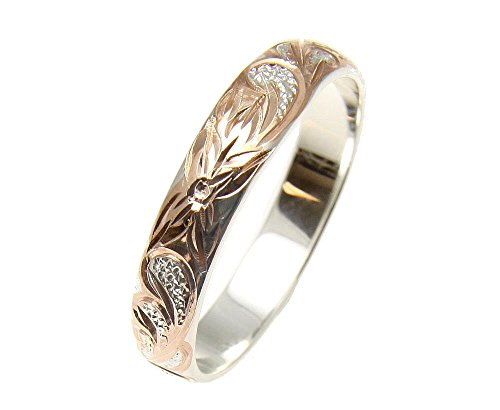 Arthur's Jewelry Pink Rose Gold Plated Sterling Silver 925 Hawaiian Plumeria Scroll 4mm Band Ring Size 6.5