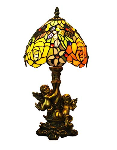 ChuanHan 8-Inch Tiffany Style Desk Lamp/Reading Light, Euro Antique Rose/Glass Decorative Desk Lamp with Angel Resin Base, Baroque Table Light for Western Dining Room Cafe