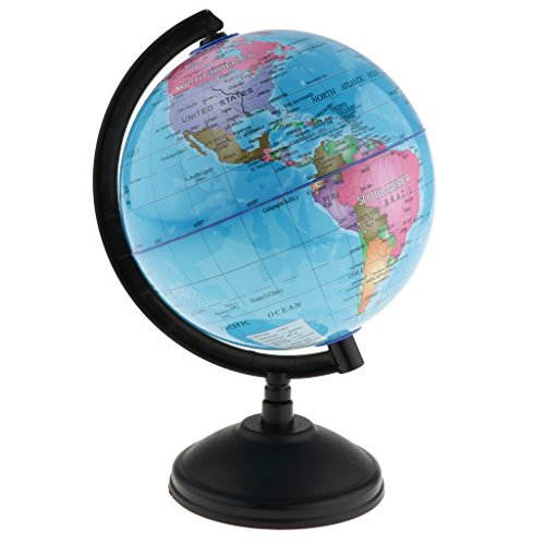 B Blesiya Rotating World Earth Globe Ocean Map Child Toys Educational Xmas Gift 14cm  Blue
