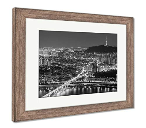 Ashley Framed Prints Seoul City at Night, Wall Art Home Decoration, Black/White, 30x35 (Frame Size), Rustic Barn Wood Frame, AG5888182