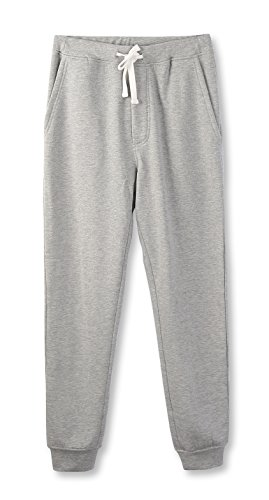 HETHCODE Mens Classic Fit Basic Fleece Closed-Bottom Pocketed Joggers Sweatpants Heather Gray M (Classic Fleece Pants)