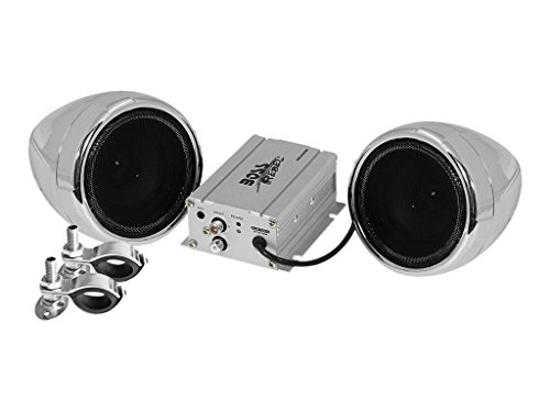 [BOSS Audio MC420B Bluetooth, All-Terrain, Weatherproof Speaker And Amplifier Sound System, Two 3 Inch Speakers, Bluetooth Amplifier, Inline Volume Control, Ideal For Motorcycles/ATV and 12 Volt Applications] (Boss Audio Systems)