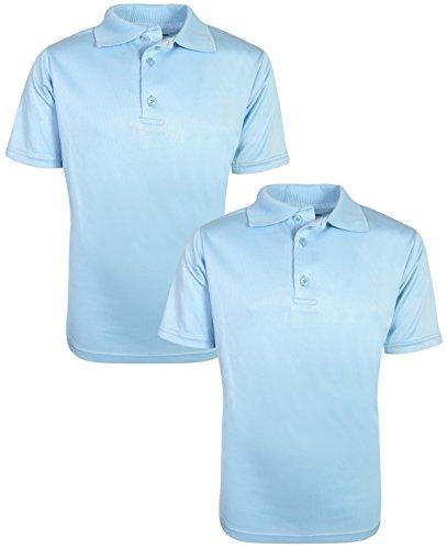 Beverly Hills Polo Club Boys Short Sleeve Dry-Fit Performance School Uniform Polo (2 Pack), Light Blue, 5'