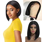Myfashionhair Front Lace Wig Silky Straight Human Hair Wig 10 inch 180% Density Real Hair Wigs with 13x6 Swiss Lace and Adjustable Cap, Pre Plucked Wigs for Women Human Hair (#1B)
