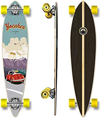 Yocaher Graphic Complete Pintail Skateboards Longboard Cruiser w//Black Widow Premium 80A Grip Tape Aluminum Alloy Truck ABEC7 Bearing 70mm Skateboard Wheels