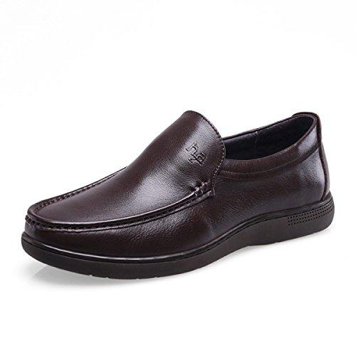 GRRONG Zapatos De Cuero Del Ocio Del Negocio Del Cuero Genuino De Los Hombres Negro Marrón Brown